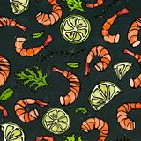 Seafood Seamless Pattern. Shrimp or Prawn, Herbs and Lime on Chalkboard Background. Isolated Doodle Cartoon Vintage Hand Stock Image