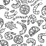 Seafood Seamless Pattern. Shrimp or Prawn, Herbs and Lime. Isolated On a White Background Doodle Cartoon Vintage Hand Royalty Free Stock Image