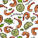 Seafood Seamless Pattern. Shrimp or Prawn, Herbs and Lime. Isolated On a White Background Doodle Cartoon Vintage Hand Stock Photos