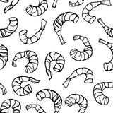 Seafood Seamless Pattern. Shrimp or Prawn. Isolated On a White Background Doodle Cartoon Vintage Hand Drawn Sketch Stock Photo