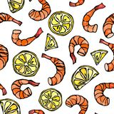 Seafood Seamless Pattern. Shrimp or Prawn and Lemon Background. Isolated On a White Background Doodle Cartoon Vintage Stock Image