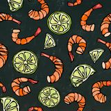 Seafood Seamless Pattern. Shrimp or Prawn, and Lime on Chalkboard Background. Isolated Doodle Cartoon Vintage Hand Drawn Stock Image