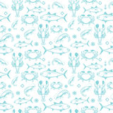 Seafood seamless pattern Stock Images