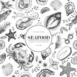Seafood vector seamless pattern for restaurants, emblem, vector image. Retro illustration. Seafood seamless vector pattern. Can be use for restaurants, packaging Stock Photos