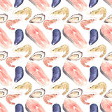 Seafood. Seamless watercolor pattern with oysters Royalty Free Stock Photo