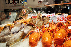 Seafood for sell in the Sydney Fish Market. SYDNEY, AUSTRALIA - APRIL 9, 2015: Seafood for sell in the Sydney Fish Market. It is the world's 3rd largest fish Stock Photo