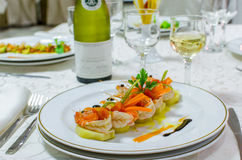 Seafood served on plate Royalty Free Stock Photos