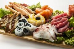 seafood set on brown plate Stock Image