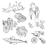 Seafood set Royalty Free Stock Images