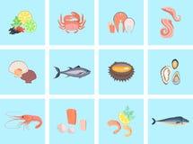 Seafood Set Design Flat Fish and Crab. Lobster and food oyster, fresh seafood, shrimp and menu octopus animal, shellfish lemon, fresh seafood vector Royalty Free Stock Image