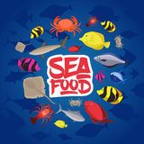 Seafood set design flat fish, crab and lobster. Vector illustration Stock Image