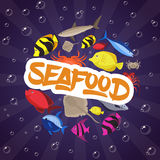 Seafood set design flat fish, crab and lobster. Vector illustration Royalty Free Stock Photo