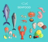 Seafood Set Design Flat Fish and Crab. Seafood fish, seafood platter, lobster and crab, food oyster, fresh seafood, shrimp and menu seafood, octopus animal Stock Images