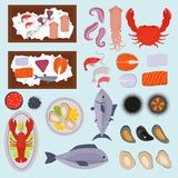 Seafood vector illustration set design flat fish and crab food oyster fresh seafood shrimp menu sea food octopus animal. Seafood set design flat fish and crab Royalty Free Stock Photos