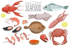 Seafood set, fish products for the fish market or restaurant vector illustrations in cartoon style. On a white background Stock Photography
