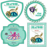 Seafood,a set of four illustrations Royalty Free Stock Photo