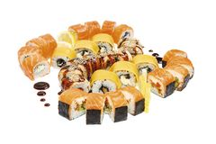 Seafood set - isolated rolls stock images