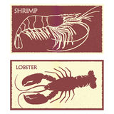 Seafood. Set lobster and shrimp. Retro vector royalty free illustration