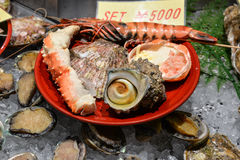 Seafood set, Osaka, Japan. Osaka, Japan - November 19, 2016:  Seafood set is sold along the street at Kuromon Ichiba market, a local market, Nipponbashi, Osaka Royalty Free Stock Photography