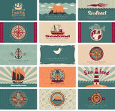 Seafood set. Vector set of business cards on seafood Stock Photography