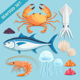 Seafood Set. Vector Illustrations. Royalty Free Stock Photos