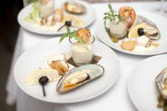 Seafood sets at local restaurant, fine dining, Fresh seafood platter with , mussels and on plate with tartar sauce.  stock image