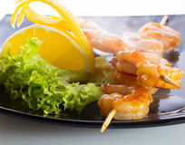 Seafood shashlik Stock Images