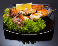 Seafood shashlik stock photos