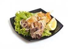 Seafood shashlik Stock Photo
