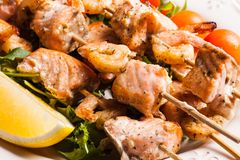 Seafood shashlik Royalty Free Stock Photography