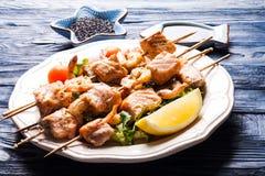 Seafood shashlik Stock Photography