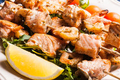 Seafood shashlik Royalty Free Stock Photos
