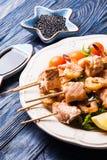 Seafood shashlik Royalty Free Stock Images