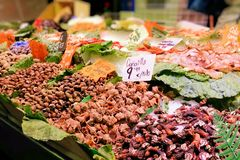 Seafood and shellfish at a food market Royalty Free Stock Images