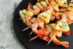 Seafood, shellfish. Prawns skewers Stock Image