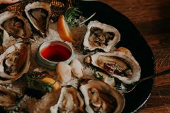 Seafood. Shellfish. Raw scallops with lemon, cilantro. And white wine on black stone slate plate Royalty Free Stock Image