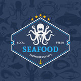 Seafood Shop Label Template Stock Image