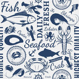 Seafood Shop Seamless Pattern. Vector seafood design elements, label templates, icons, background and seamless pattern Stock Photo