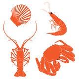 Seafood: shrimp, crawfish, crab, Scallops Stock Photos