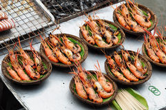 Seafood, Shrimp grill  on the market Royalty Free Stock Photos