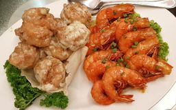 Seafood shrimps cooked in dual chinese style Royalty Free Stock Photography