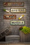 Seafood signs Royalty Free Stock Images