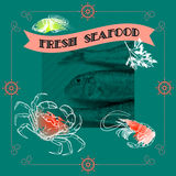Seafood silhouette crab, shrimp, fish, lemon Royalty Free Stock Photography