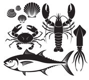 Seafood silhouette set. Lobster prawn, crab, tuna fish, shellfish and squid. Vector Illustrations. royalty free illustration