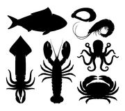 Seafood Silhouettes Isolated on White Royalty Free Stock Photos
