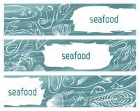 Seafood sketch banner set. Vector hand drawn illustration. Template design for banner, flyer, poster, business promote. Seafood sketch banner set. Vector hand Stock Photo
