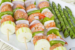 Seafood Skewers Stock Photography