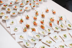 Seafood snacks. On white table in birthday party Royalty Free Stock Photos