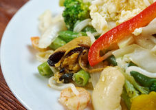 Seafood and somen noodles. Chinese cuisine stock photography