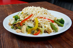 Seafood and somen noodles. Chinese cuisine royalty free stock photos